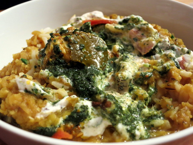 Dal and rice, with carrot and green mango pickle, raita and mint chutney