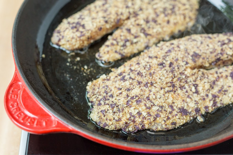 tortilla crusted tilapia filets in pan