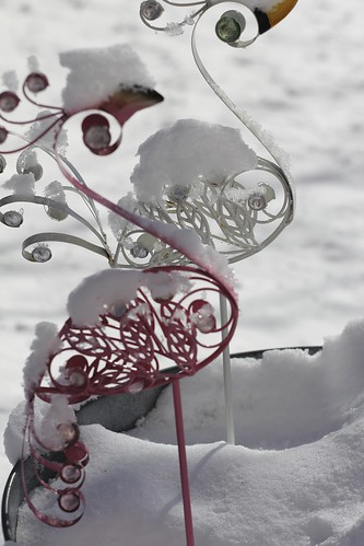 yard ornaments covered with snow