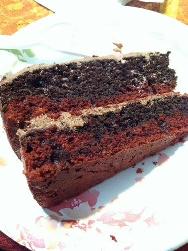 Slice of Marbled Red Velvet Cake