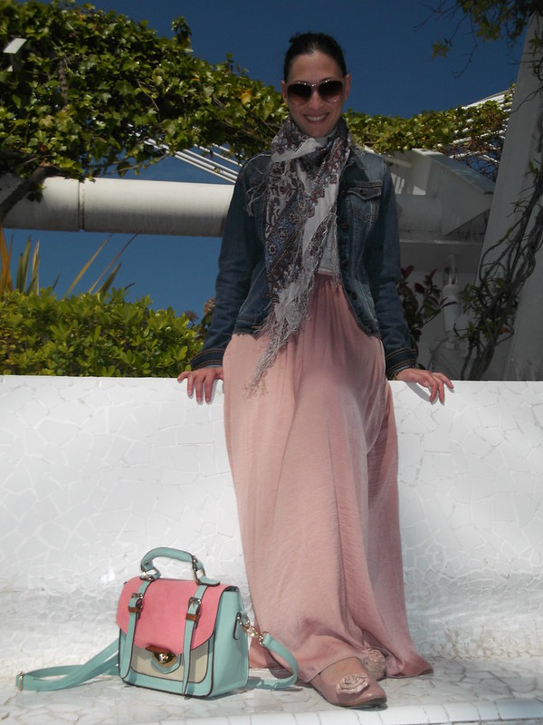 Denim, falda larga rosa palo, pink pale long skirt , umbracle, ciudad ciencias, city sciences, satchel, bailarinas