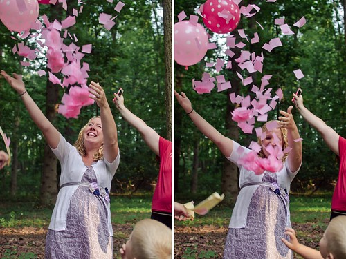 She is having a girl balloon confetti baby shower drop