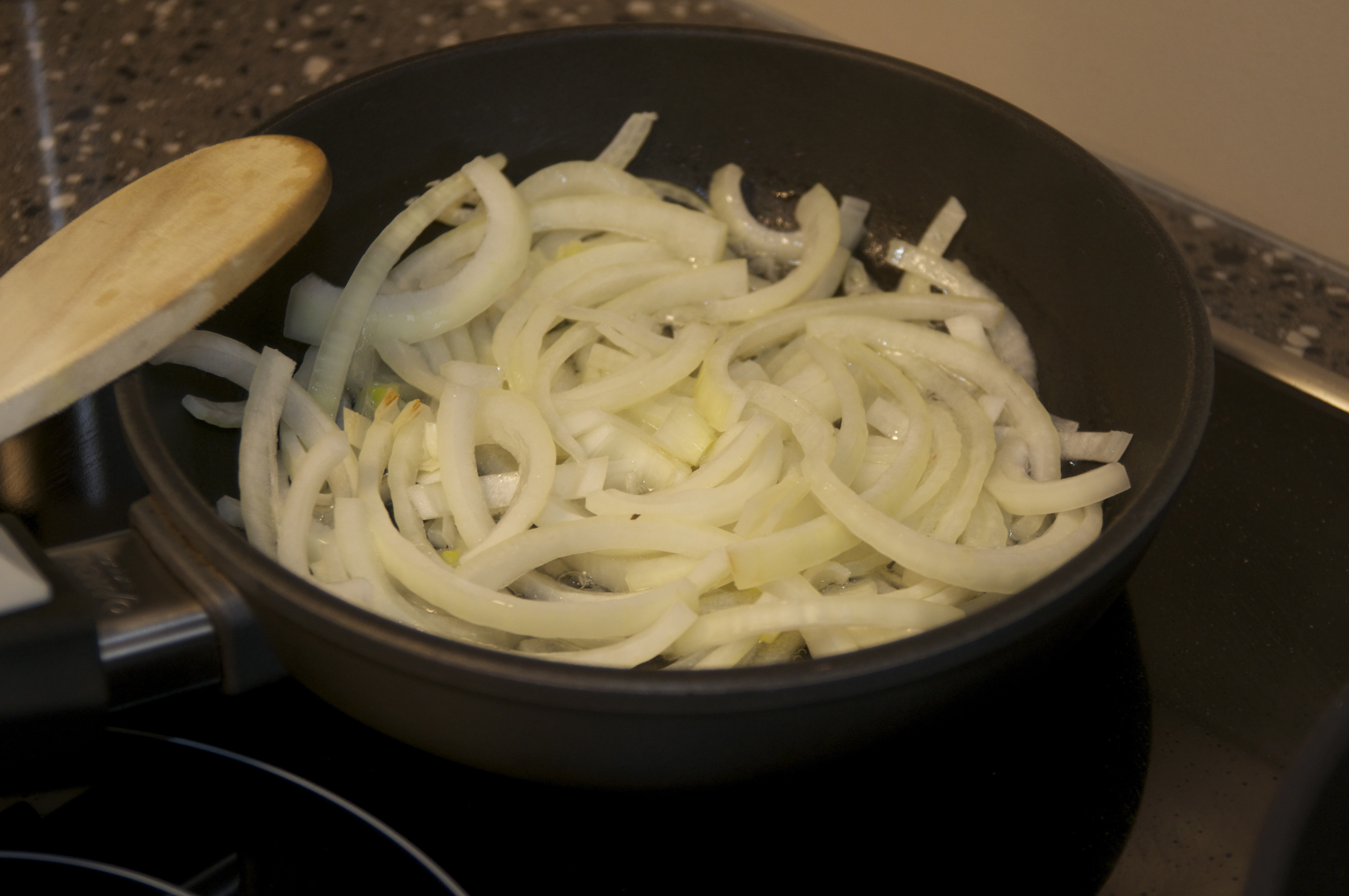Caramelising onions