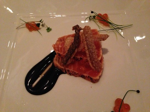 Seared salmon with fried salmon skin and salmon roe