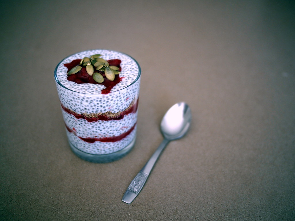 Chia, plum and LSA trifle