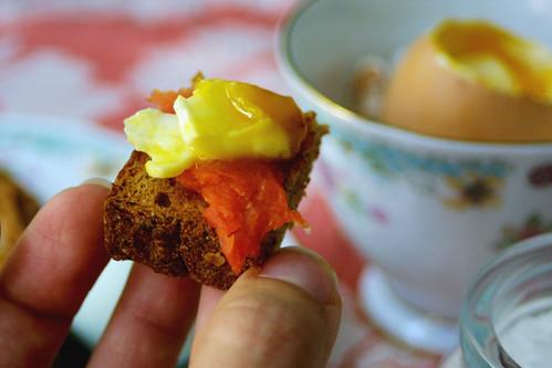 Egg, salmon, toast