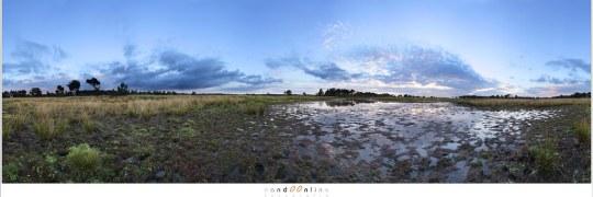 Vlakke 360° panorama is weinig interessant. De horizon in het midden levert al snel een tweedeling in de foto. Dit zijn de risico's van het maken van een panorama