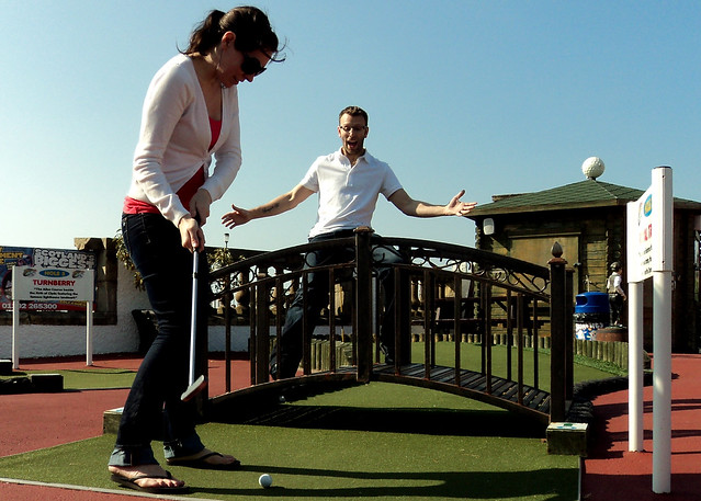 Miniature golf in Ayr, Scotland.