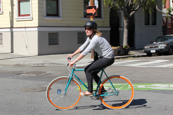 turquoise/orange bike