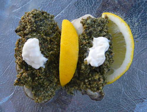 Oysters with Cilantro Pesto