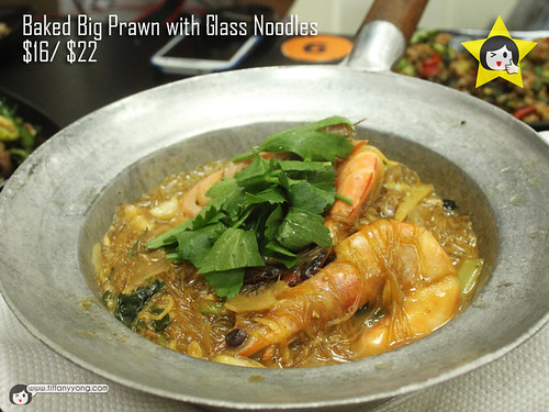 baked big prawn with glass noodles