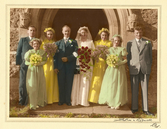 Colourised 1953 Wedding Group