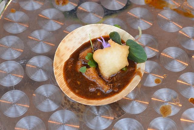Starry Kitchen chili crab gumbo, buttermilk beer beignets