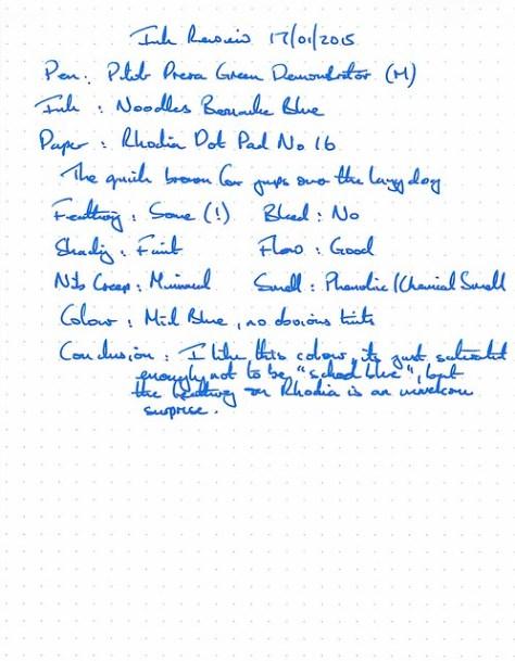 Noodler's Bernanke Blue Ink Review - Rhodia Dot Pad