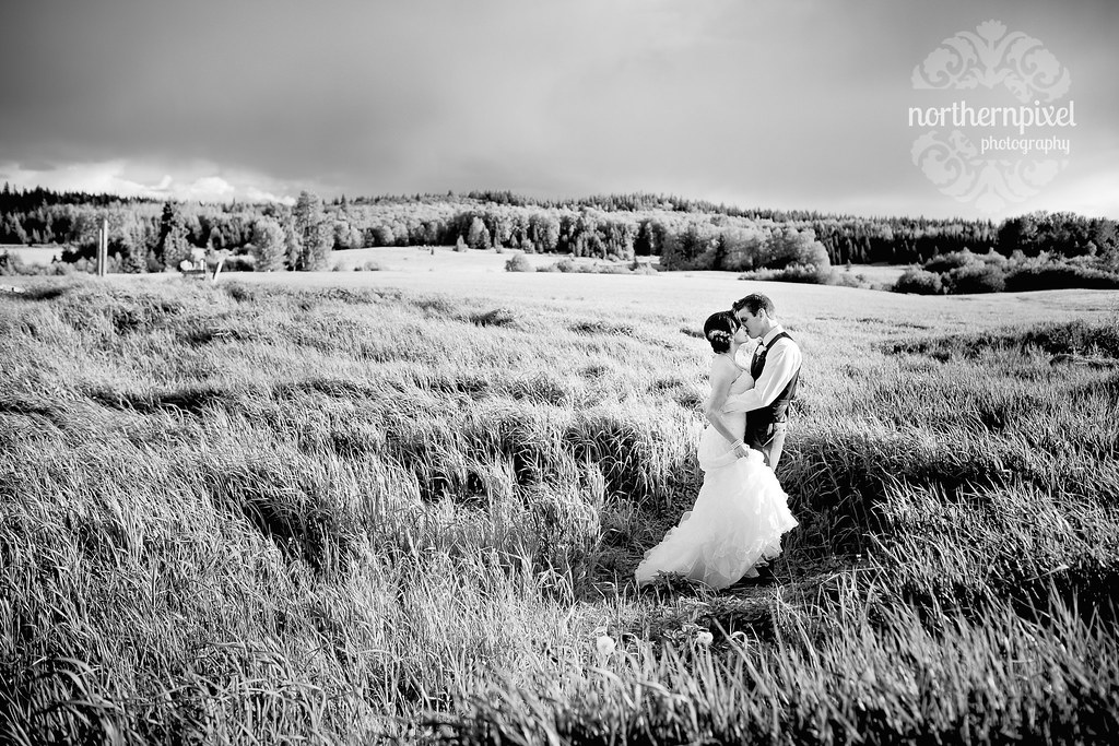 Newlyweds in the Field - Prince George BC Wedding