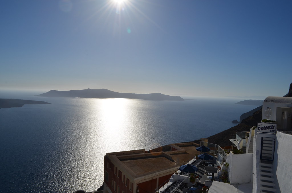 Caldera view from Fira before sunset.