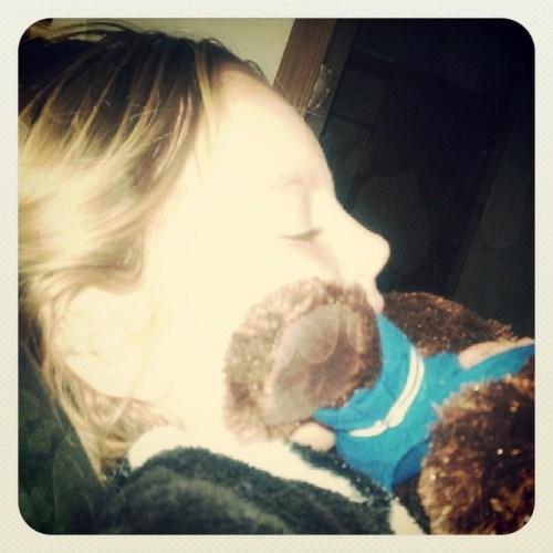 Now she's cuddling my #Colts #stuffedbear