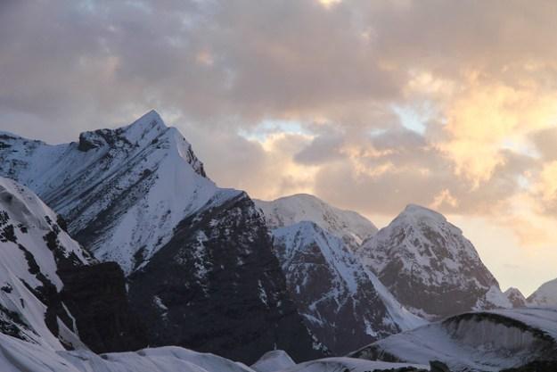 Sunset at South Inylchek base camp. South Inylchek Glacier Trek
