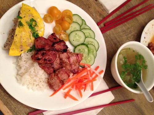 Grilled Pork, Egg and Pork custard and Rice