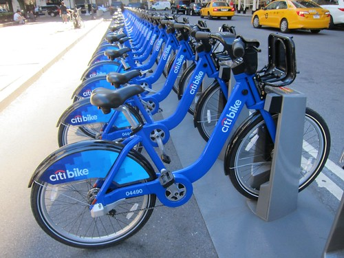 a full rack of citibikes