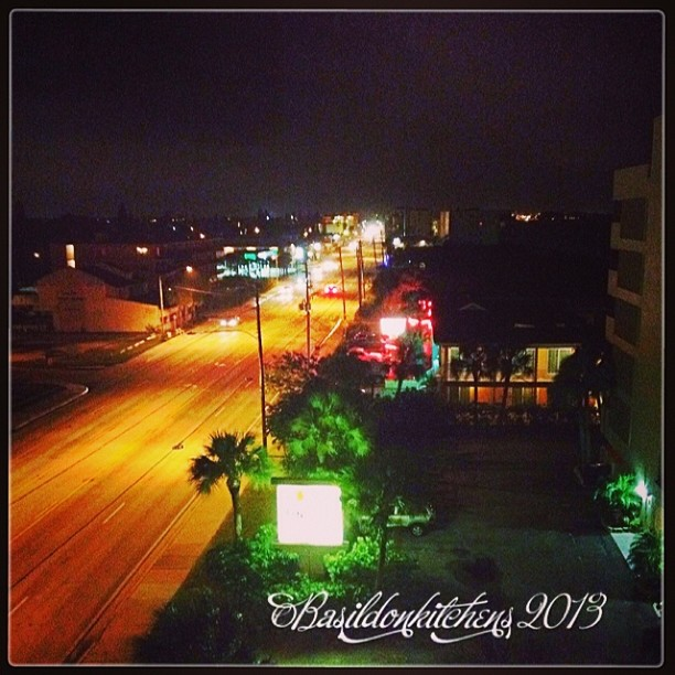 Sep 26 - night time {the view down the street at my vacation home} #photoaday #nighttime #lights #street