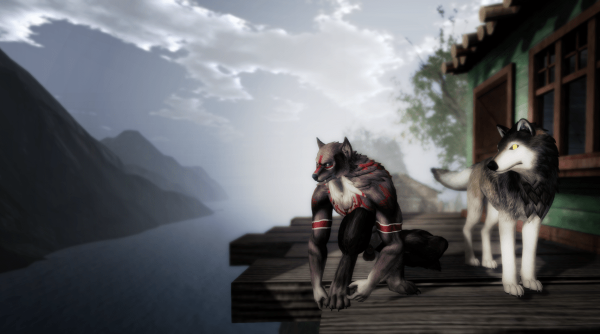 Two wolves: Randy as a lycan and Ricco as a wolf