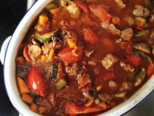 beef stew in an enamel roaster