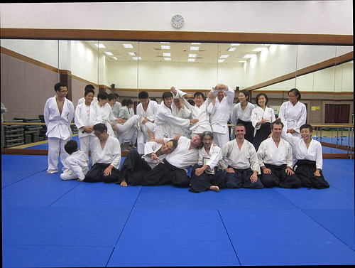 Group picture at Doyukai Aikido dojo - funny version