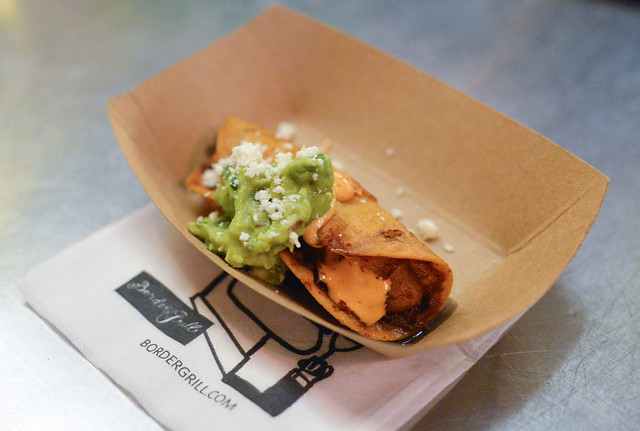 Crispy Rajas Taco creamy potatoes and roasted chiles, mexican cheeses, guacamole, grilled corn relish, chipotle crema