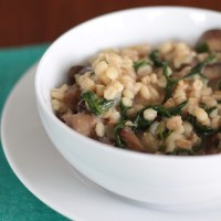Barley Risotto with Mushrooms and Arugula