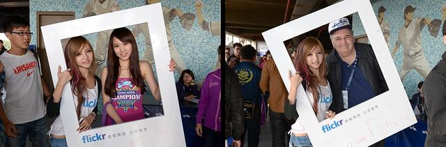 【奶精 與 flickr 相框】左:【犀睛女孩】這位犀睛女孩一出場就被大家包圍要合照 右:【阿多仔】這個外國工作人員對於這個拍照的活動好像有點不滿,不過最後還是答應照了。XD