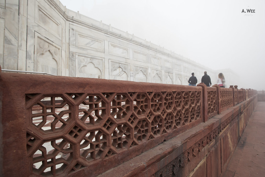 Red Fence around the Taj Mahal