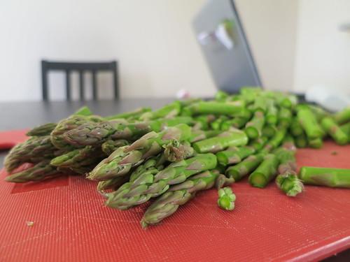 Roasted asparagus, gai lan and double couscous salad