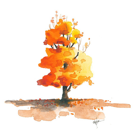 20131123 Autumn Tree Watercolor