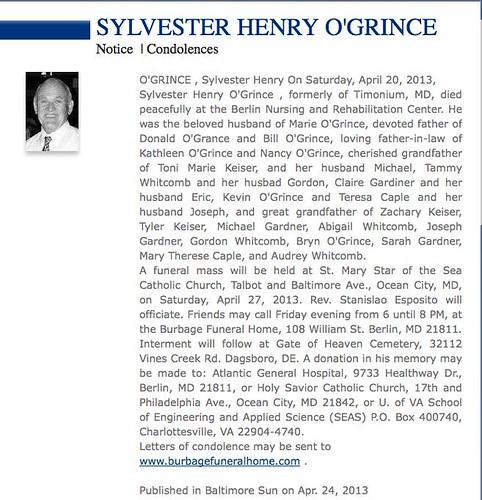 Obit Syl O'Grince