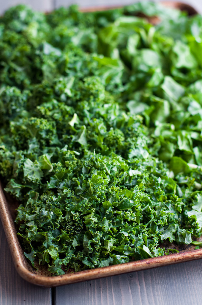 Kale of various chop sizes for baked parmesan kale puffs