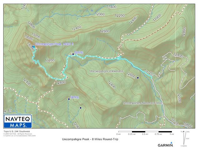 Uncompahgre Trail Topo Map