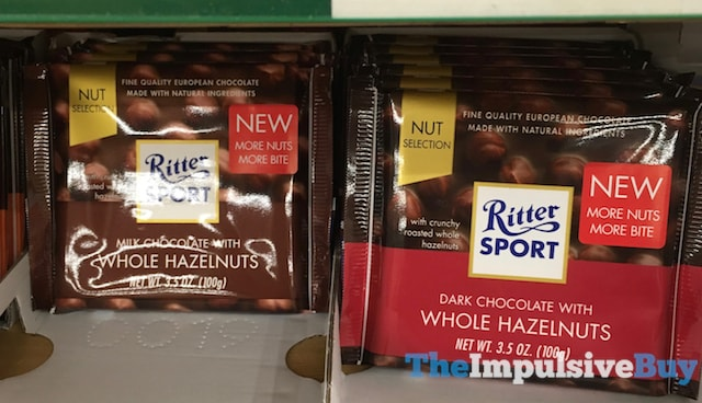 Ritter Sport Milk Chocolate with Whole Hazelnuts and Dark Chocolate with Whole Hazelnuts