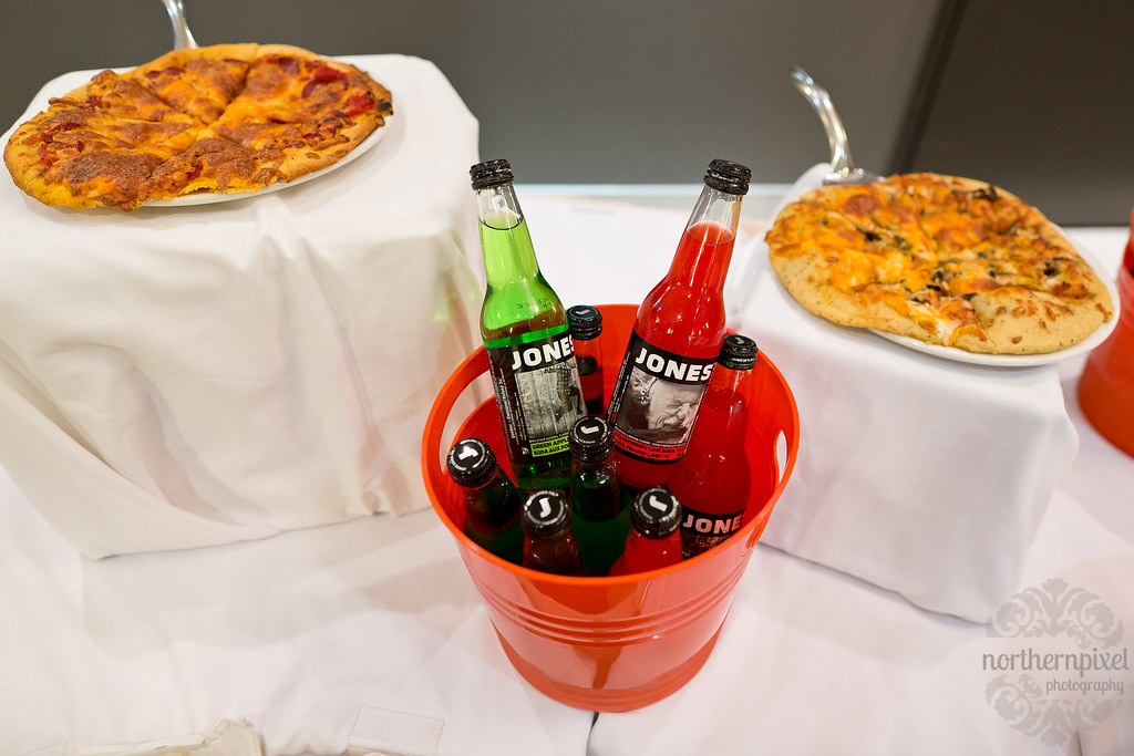 Pizza & Jones Soda at the Ramada Prince George Wedding Reception