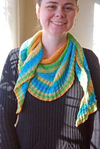 wearing handspun TGV knit shawl