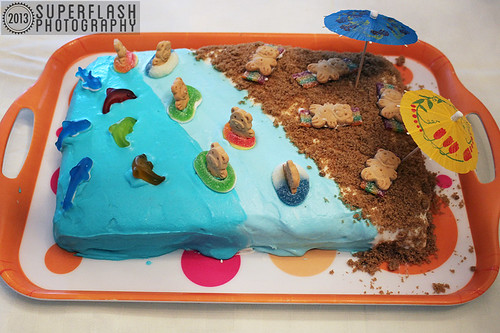 Life's A Beach Party, cake, beachy bears, teddy grahams, candy, gummies, Superflash Creative