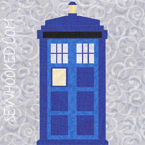 """10"""" TARDIS quilt block, paper pieced"""