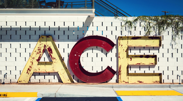 Ace Hotel & Swim Club metal letters sign