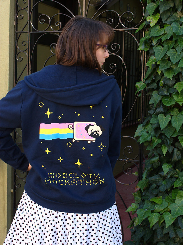 ModCloth's hackathon hoodie, designed by Amy Luo and Steph Monette. Yes, that's a nyan pug!! (Photo by Pat Zimmerman)