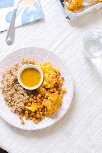 Turmeric Roasted Cauliflower, Chickpea and Quinoa | Elsa Brobbey