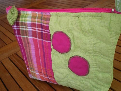 patchwork trousse rose vert