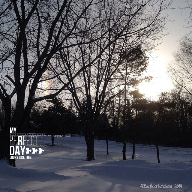 26/1/2014 - beginning {the beginning of a beautiful day after a couple of stormy ones} Now to start digging out; it looks like we got about a foot and some big drifting too! #photoaday #sunrise #sundogs #winter #snow #princeedwardcounty