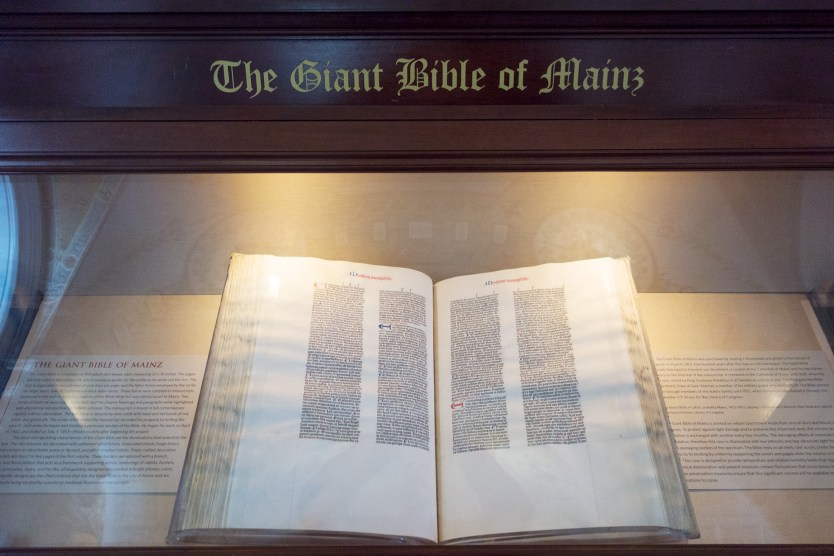 Giant Bible of Mainz display at the Library of Congress.