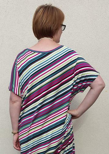 You Sew Girl! Draped T-Dress in Tessuti striped viscose