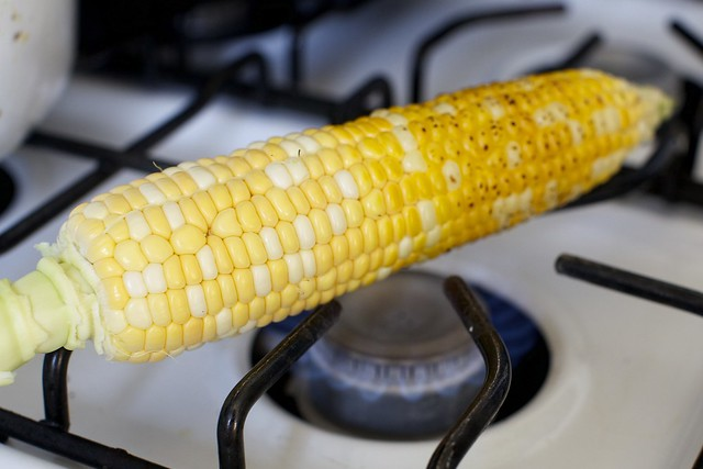 snap, crackle, charring the corn